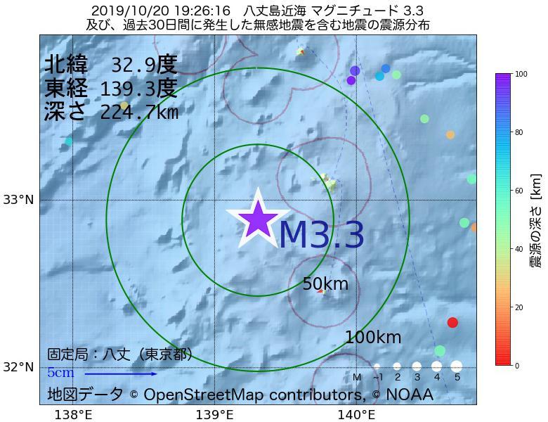 地震震源マップ:2019年10月20日 19時26分 八丈島近海でM3.3の地震