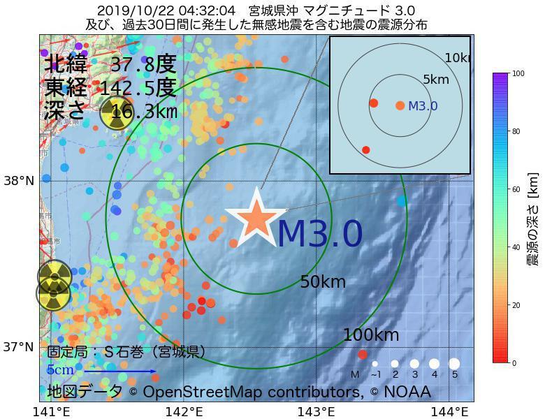 地震震源マップ:2019年10月22日 04時32分 宮城県沖でM3.0の地震