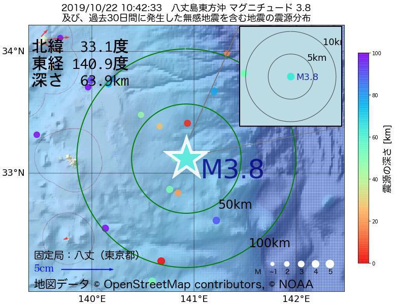 地震震源マップ:2019年10月22日 10時42分 八丈島東方沖でM3.8の地震