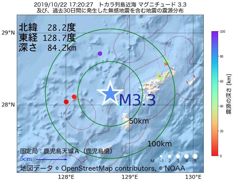 地震震源マップ:2019年10月22日 17時20分 トカラ列島近海でM3.3の地震