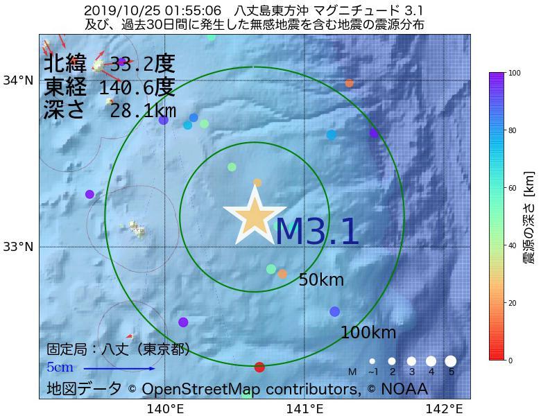 地震震源マップ:2019年10月25日 01時55分 八丈島東方沖でM3.1の地震