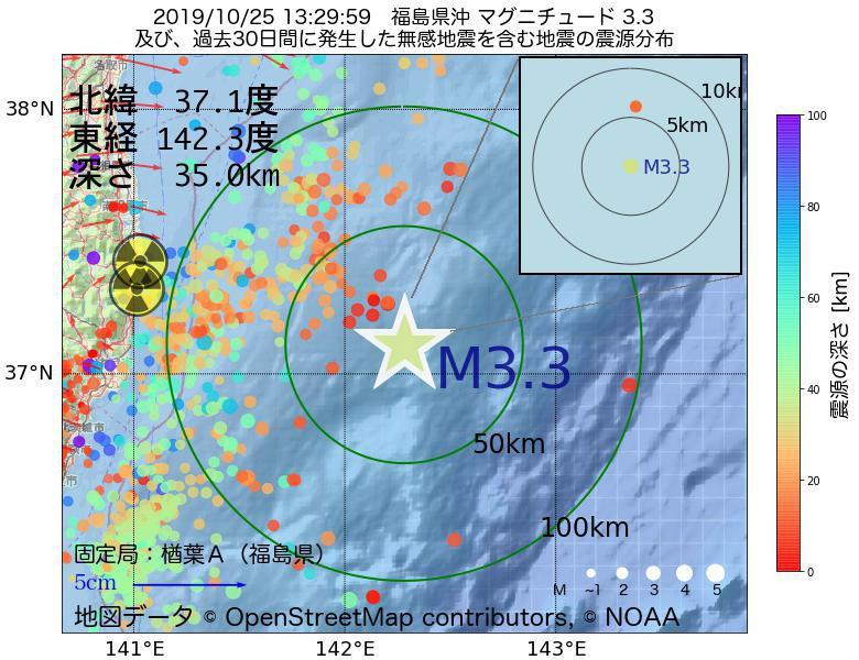 地震震源マップ:2019年10月25日 13時29分 福島県沖でM3.3の地震