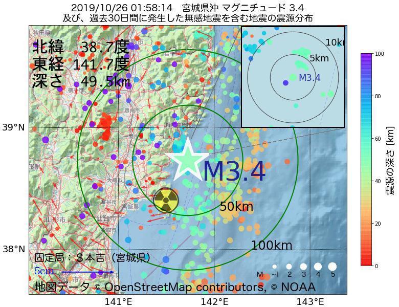 地震震源マップ:2019年10月26日 01時58分 宮城県沖でM3.4の地震