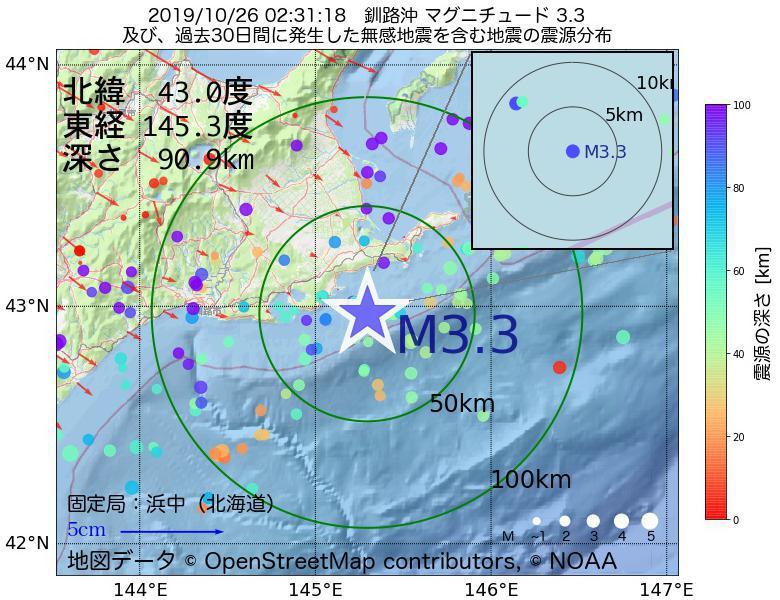 地震震源マップ:2019年10月26日 02時31分 釧路沖でM3.3の地震