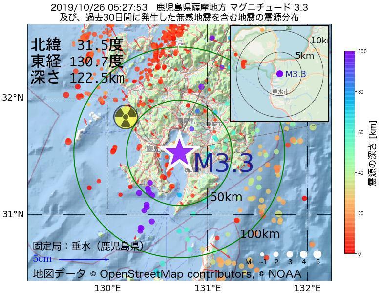 地震震源マップ:2019年10月26日 05時27分 鹿児島県薩摩地方でM3.3の地震