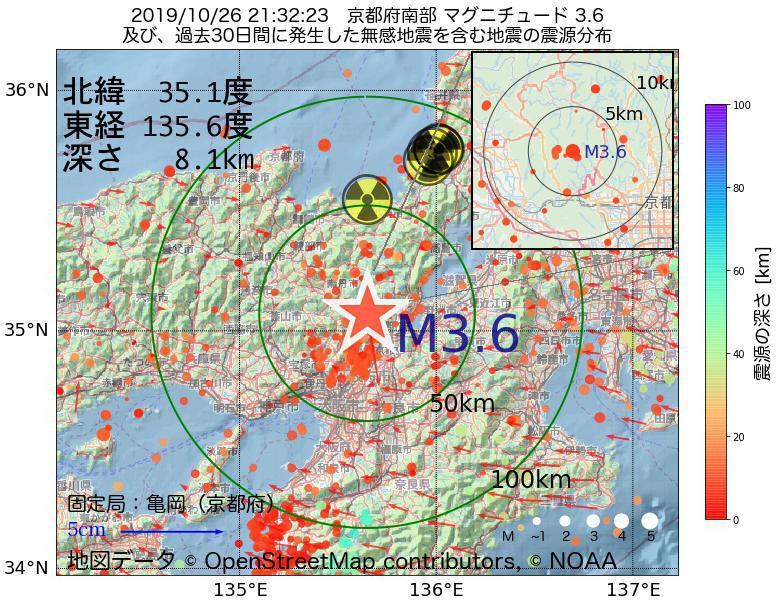 地震震源マップ:2019年10月26日 21時32分 京都府南部でM3.6の地震