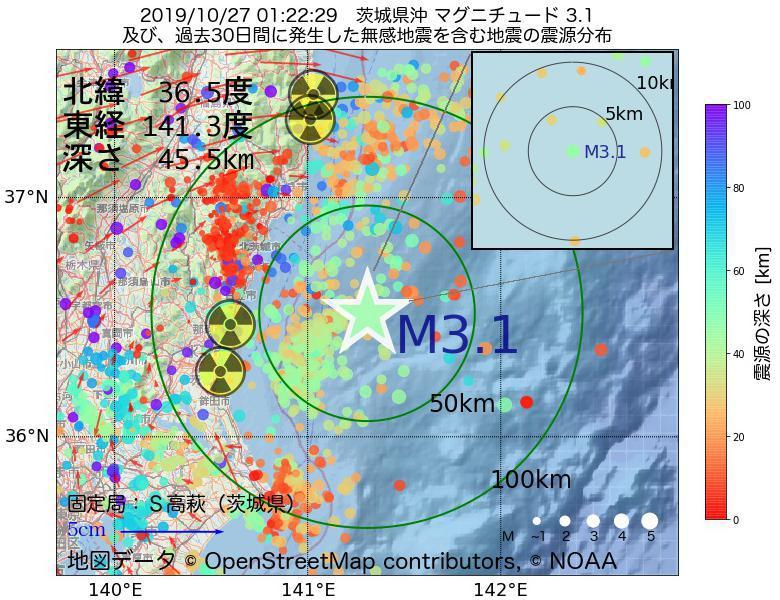 地震震源マップ:2019年10月27日 01時22分 茨城県沖でM3.1の地震
