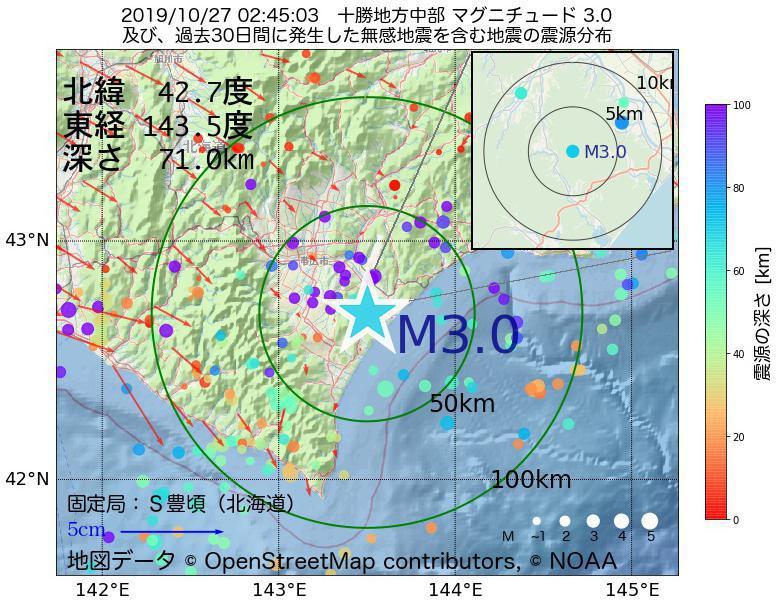 地震震源マップ:2019年10月27日 02時45分 十勝地方中部でM3.0の地震