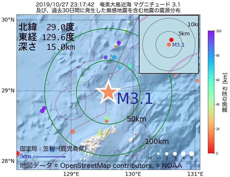 地震震源マップ:2019年10月27日 23時17分 奄美大島近海でM3.1の地震
