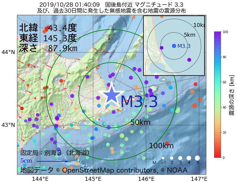 地震震源マップ:2019年10月28日 01時40分 国後島付近でM3.3の地震
