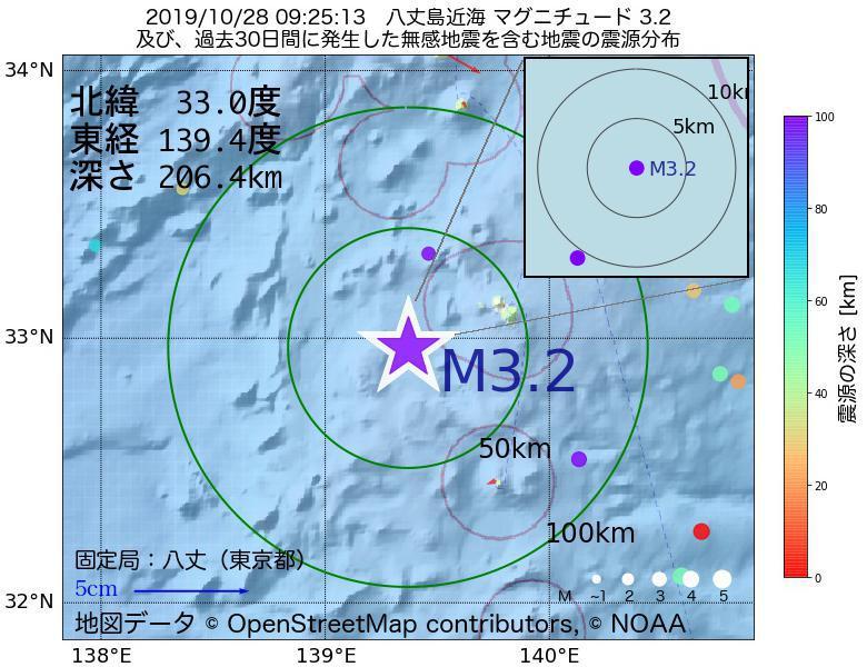 地震震源マップ:2019年10月28日 09時25分 八丈島近海でM3.2の地震