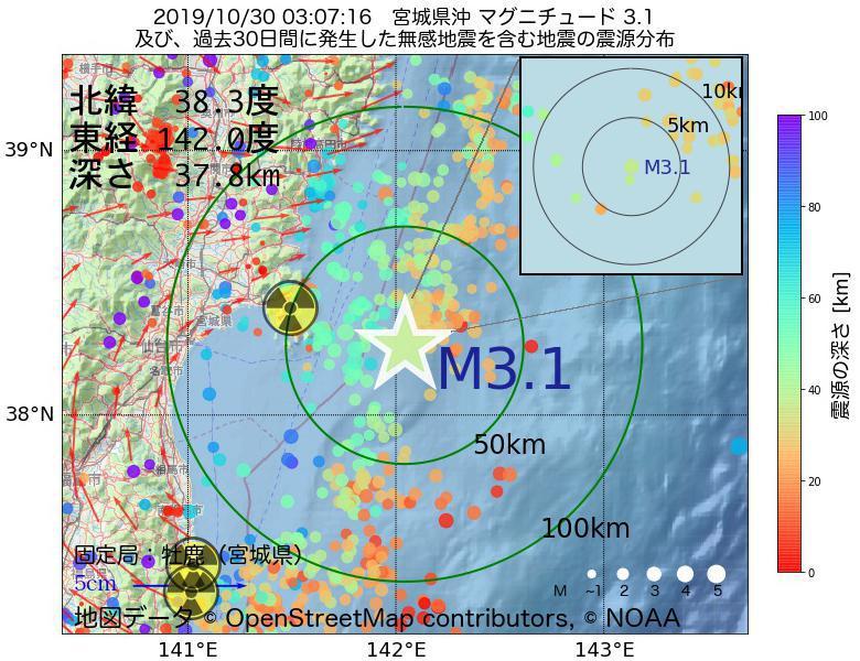 地震震源マップ:2019年10月30日 03時07分 宮城県沖でM3.1の地震