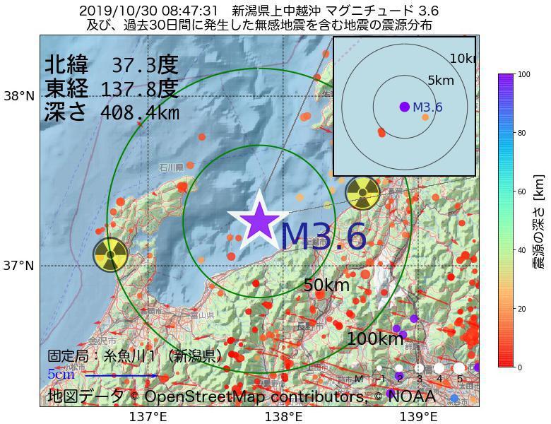 地震震源マップ:2019年10月30日 08時47分 新潟県上中越沖でM3.6の地震