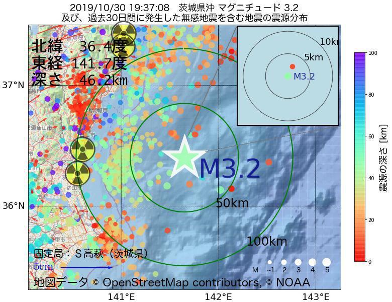 地震震源マップ:2019年10月30日 19時37分 茨城県沖でM3.2の地震