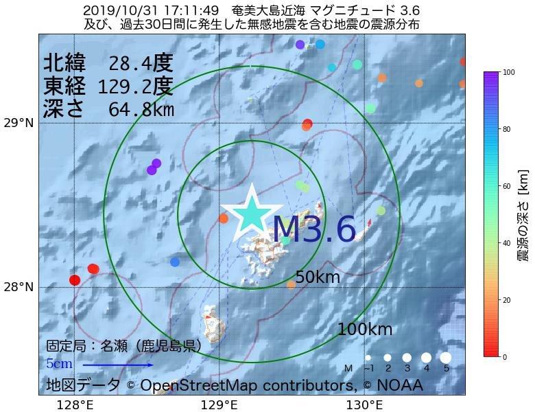 地震震源マップ:2019年10月31日 17時11分 奄美大島近海でM3.6の地震