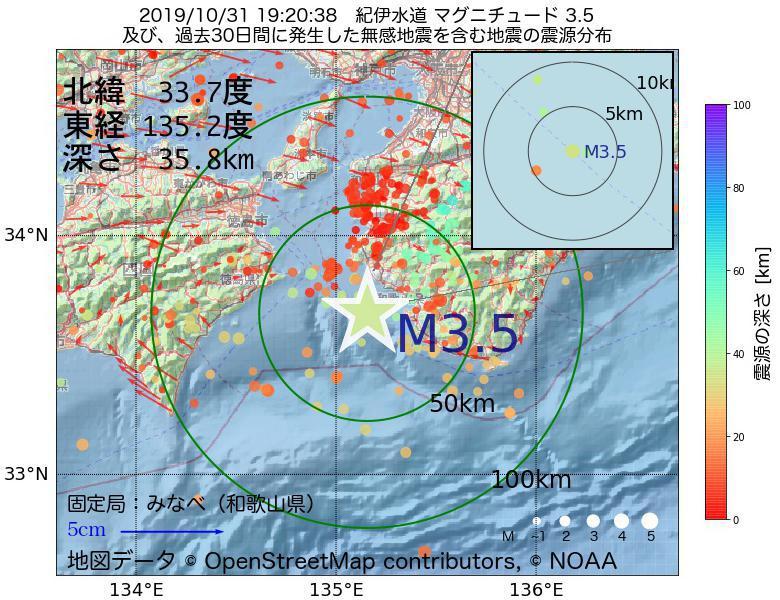 地震震源マップ:2019年10月31日 19時20分 紀伊水道でM3.5の地震