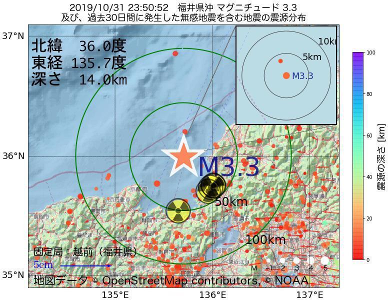 地震震源マップ:2019年10月31日 23時50分 福井県沖でM3.3の地震