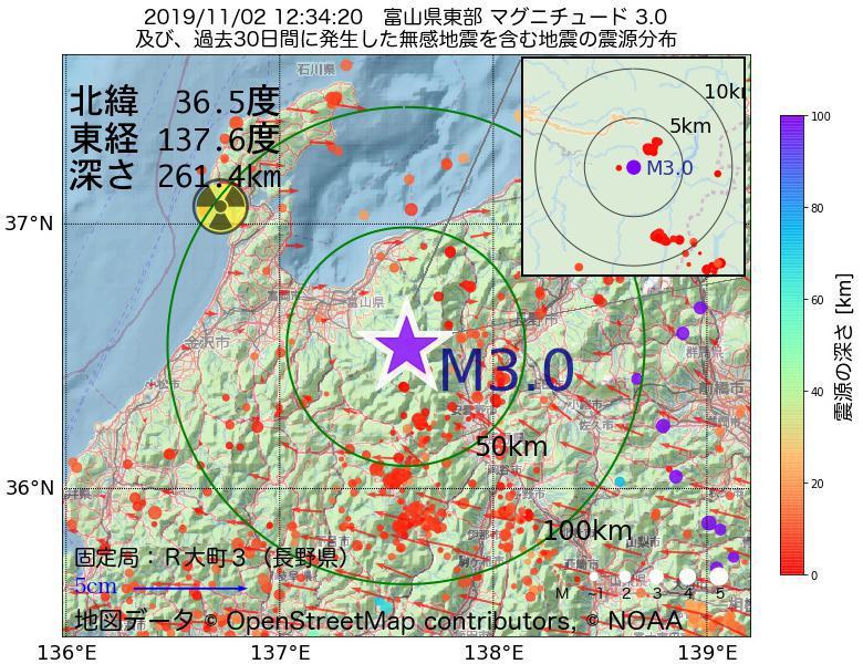 地震震源マップ:2019年11月02日 12時34分 富山県東部でM3.0の地震