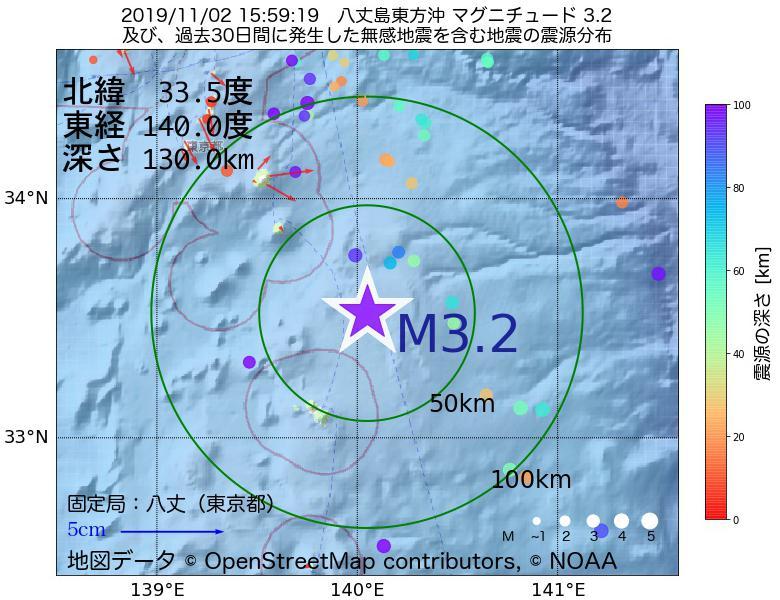地震震源マップ:2019年11月02日 15時59分 八丈島東方沖でM3.2の地震