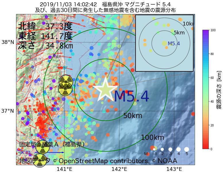 地震震源マップ:2019年11月03日 14時02分 福島県沖でM5.4の地震