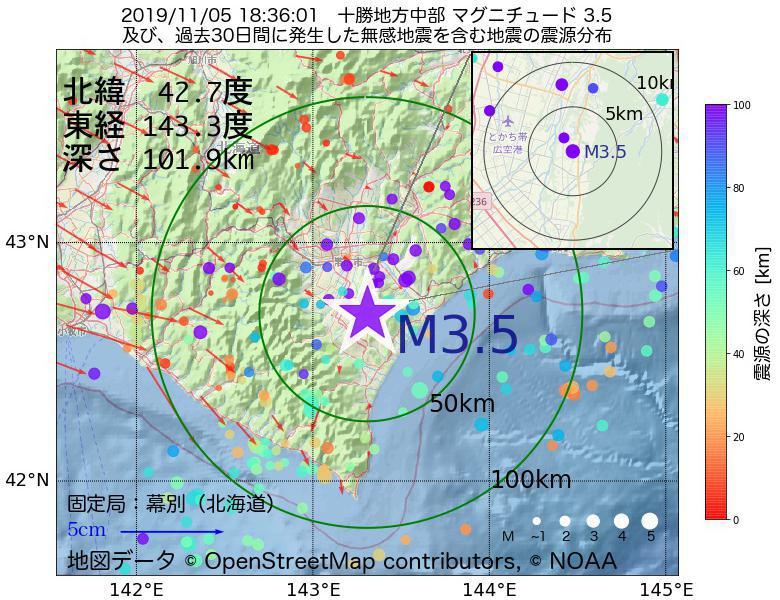 地震震源マップ:2019年11月05日 18時36分 十勝地方中部でM3.5の地震