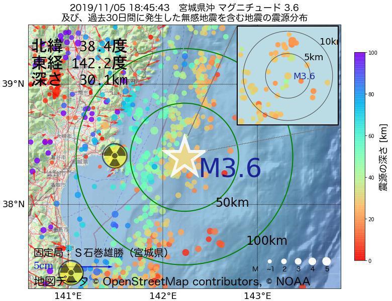 地震震源マップ:2019年11月05日 18時45分 宮城県沖でM3.6の地震