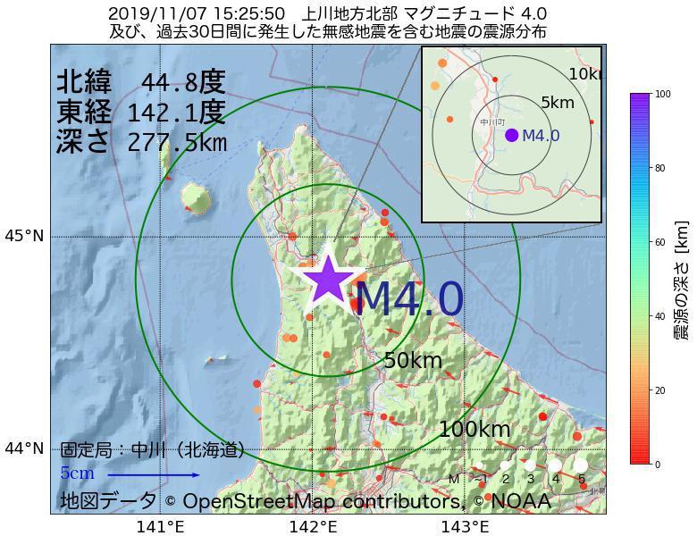 地震震源マップ:2019年11月07日 15時25分 上川地方北部でM4.0の地震