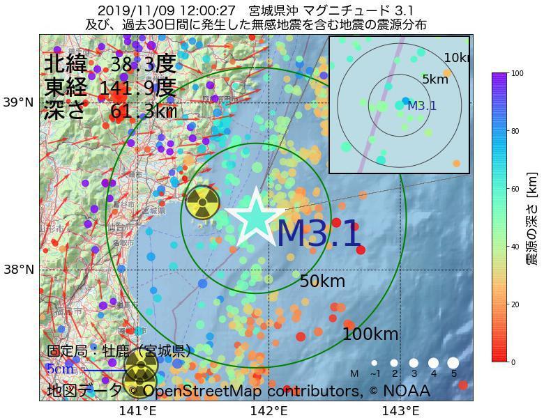 地震震源マップ:2019年11月09日 12時00分 宮城県沖でM3.1の地震