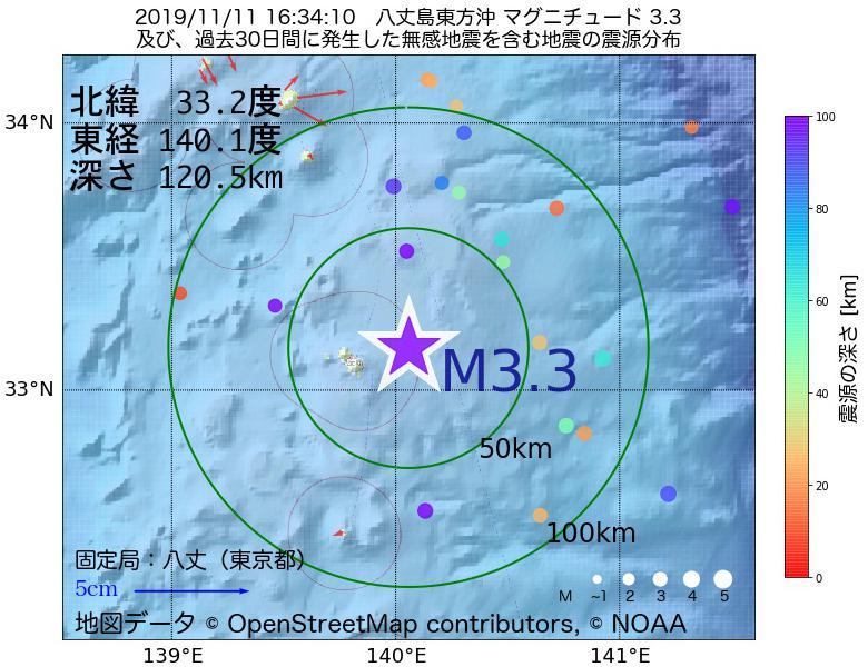 地震震源マップ:2019年11月11日 16時34分 八丈島東方沖でM3.3の地震