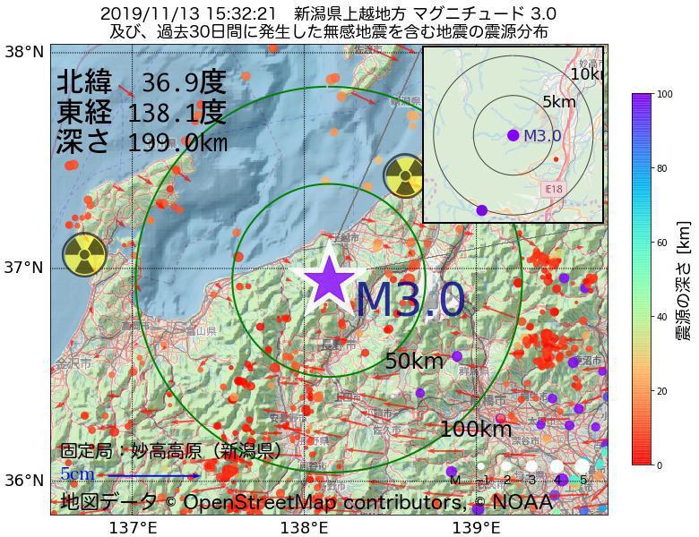 地震震源マップ:2019年11月13日 15時32分 新潟県上越地方でM3.0の地震