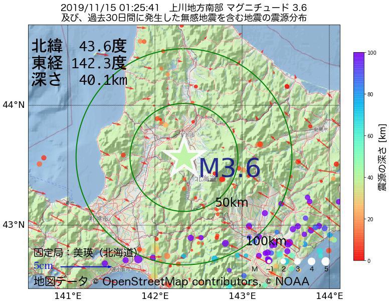 地震震源マップ:2019年11月15日 01時25分 上川地方南部でM3.6の地震