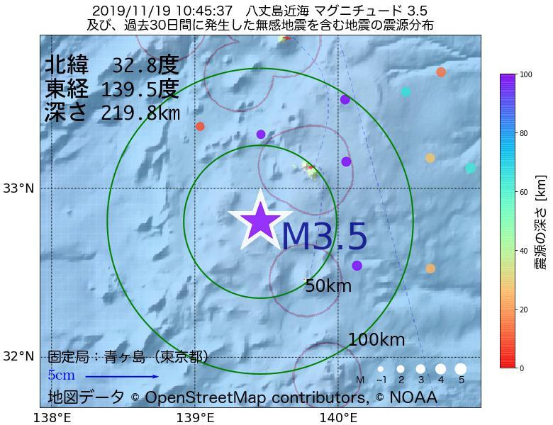 地震震源マップ:2019年11月19日 10時45分 八丈島近海でM3.5の地震