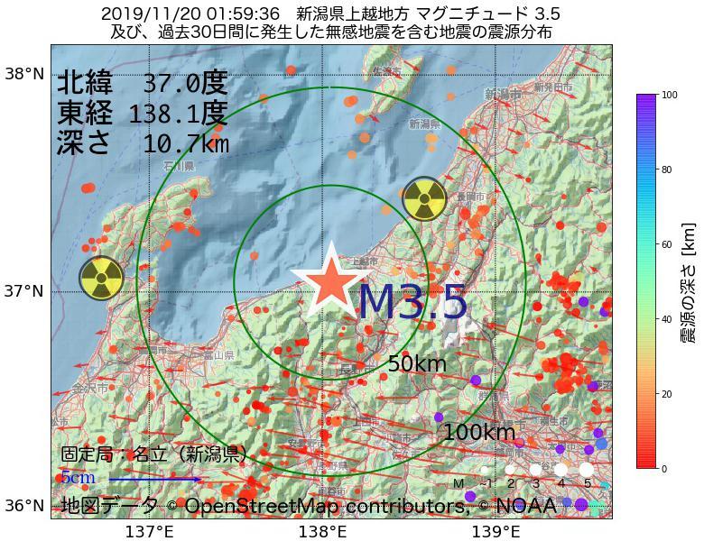 地震震源マップ:2019年11月20日 01時59分 新潟県上越地方でM3.5の地震