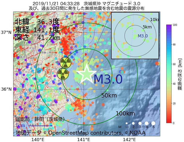 地震震源マップ:2019年11月21日 04時33分 茨城県沖でM3.0の地震