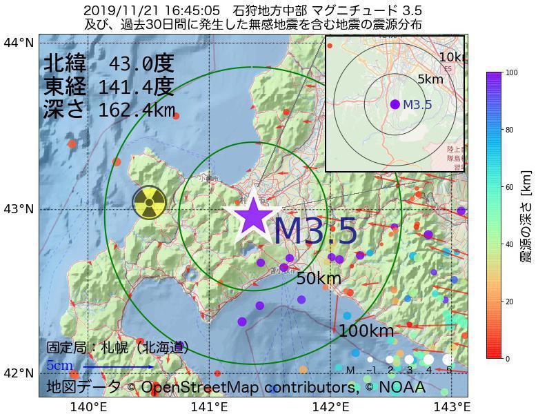 地震震源マップ:2019年11月21日 16時45分 石狩地方中部でM3.5の地震