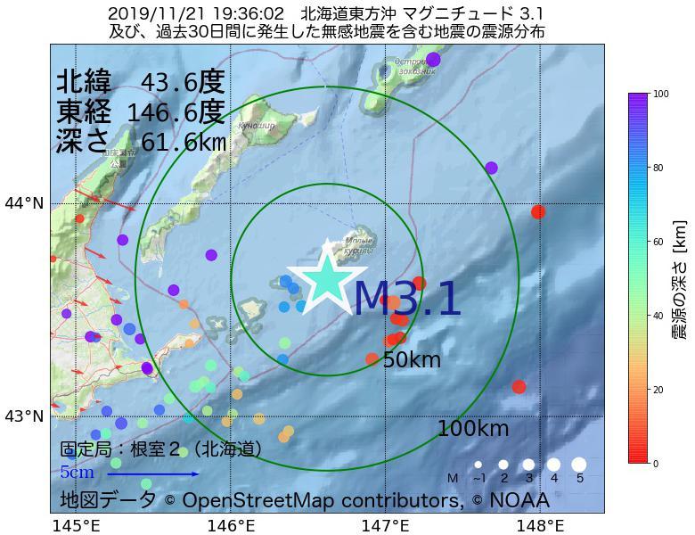 地震震源マップ:2019年11月21日 19時36分 北海道東方沖でM3.1の地震