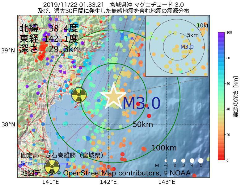 地震震源マップ:2019年11月22日 01時33分 宮城県沖でM3.0の地震