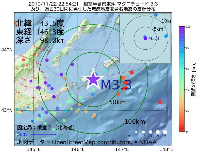 地震震源マップ:2019年11月22日 22時54分 根室半島南東沖でM3.3の地震