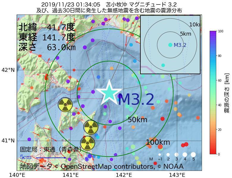 地震震源マップ:2019年11月23日 01時34分 苫小牧沖でM3.2の地震