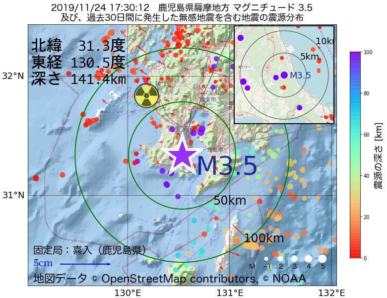 地震震源マップ:2019年11月24日 17時30分 鹿児島県薩摩地方でM3.5の地震