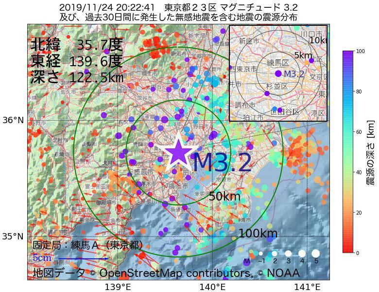 地震震源マップ:2019年11月24日 20時22分 東京都23区でM3.2の地震