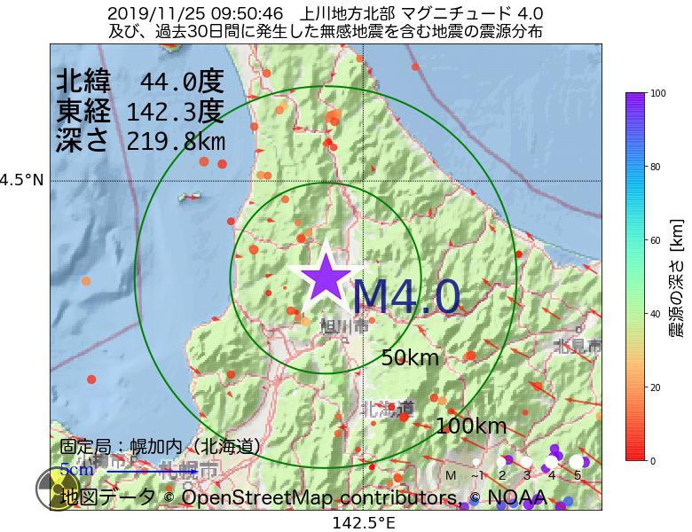 地震震源マップ:2019年11月25日 09時50分 上川地方北部でM4.0の地震