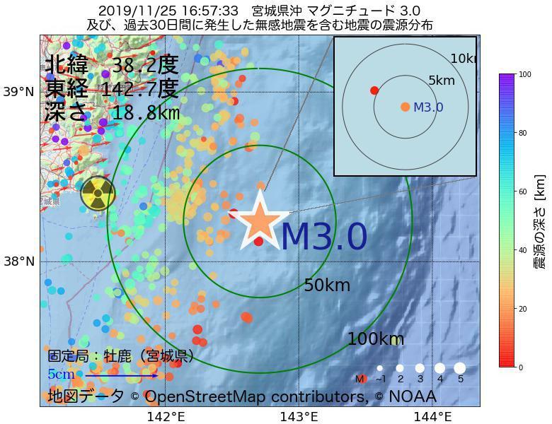 地震震源マップ:2019年11月25日 16時57分 宮城県沖でM3.0の地震
