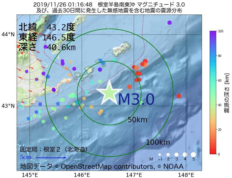 地震震源マップ:2019年11月26日 01時16分 根室半島南東沖でM3.0の地震