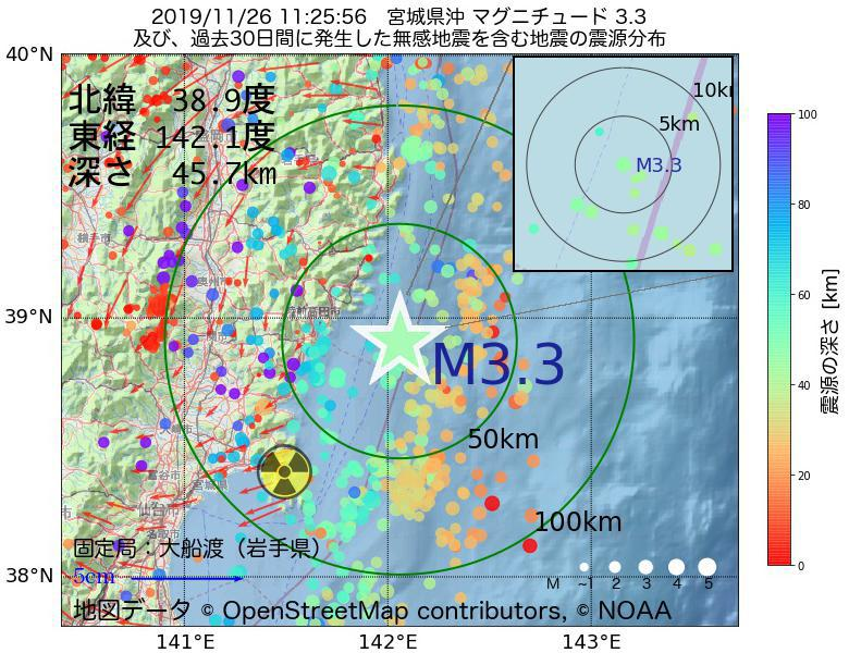 地震震源マップ:2019年11月26日 11時25分 宮城県沖でM3.3の地震