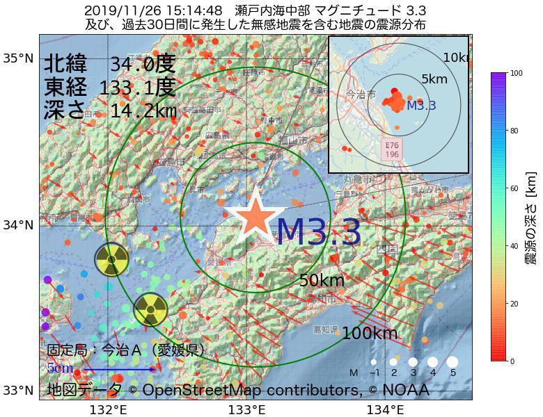 地震震源マップ:2019年11月26日 15時14分 瀬戸内海中部でM3.3の地震