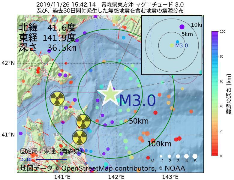 地震震源マップ:2019年11月26日 15時42分 青森県東方沖でM3.0の地震