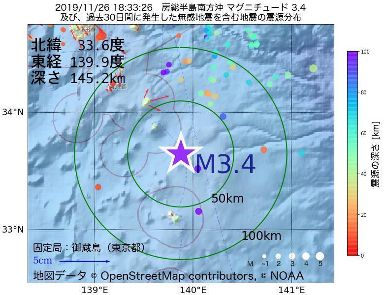 地震震源マップ:2019年11月26日 18時33分 房総半島南方沖でM3.4の地震