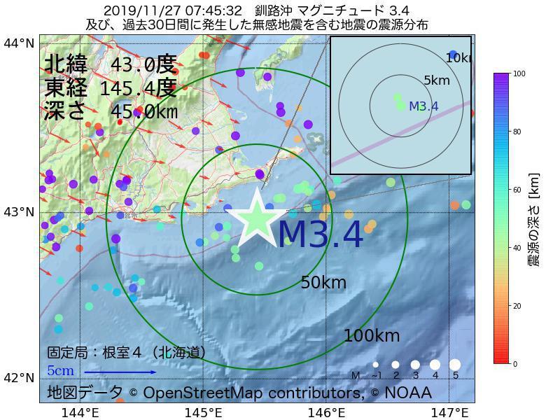 地震震源マップ:2019年11月27日 07時45分 釧路沖でM3.4の地震