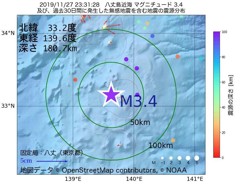 地震震源マップ:2019年11月27日 23時31分 八丈島近海でM3.4の地震